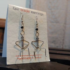 Global Crafts Jewelry - Handmade Wire Seated Figure Earrings